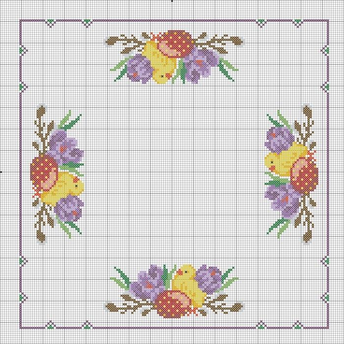 Пасхальные салфетки схема для вышивки