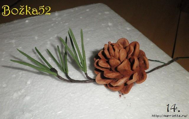 Лепим из соленого теста еловую ветку с шишкой (14) (640x403, 108Kb)