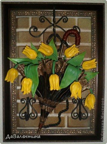 Панно из кожи. Желтые тюльпаны в зонтике (1) (358x480, 164Kb)