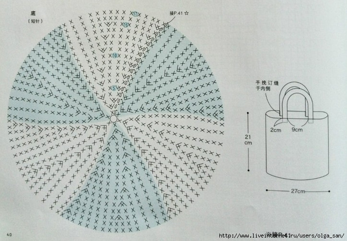 Сумка крючком с орнаментом листики