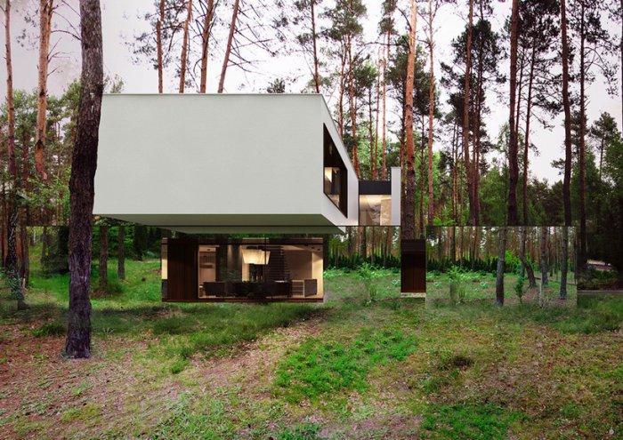 современная архитектура дом с зеркальным фасмдом 2 (700x495, 411Kb)