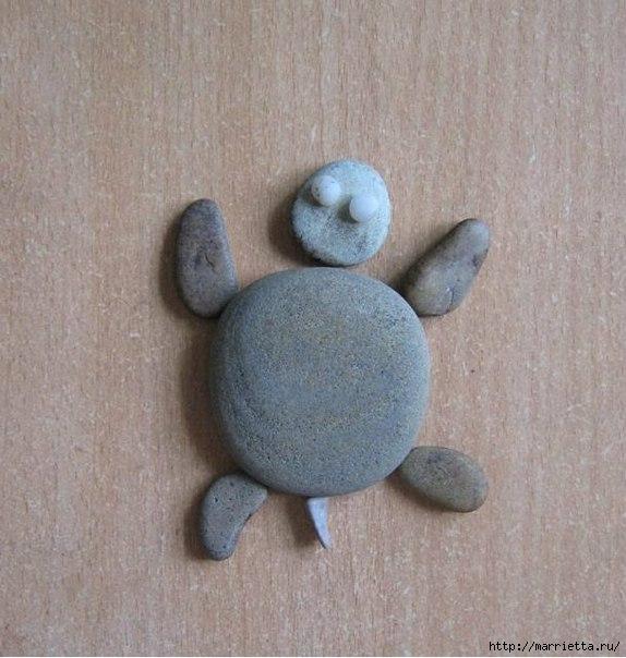 ЧЕРЕПАШКА - панно из камешков (1) (574x604, 180Kb)