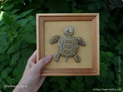ЧЕРЕПАШКА - панно из камешков (5) (520x390, 123Kb)