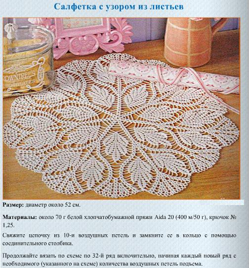Вязание салфеток из журнала валя валентина 785
