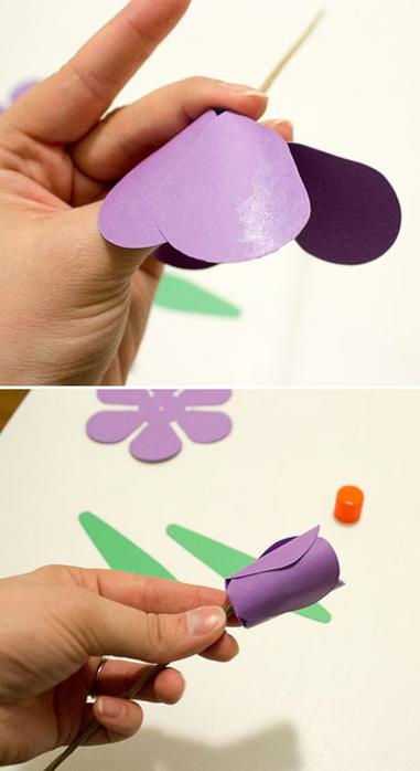 Детское творчество к 8 марта. Тюльпаны из бумаги (3) (381x700, 182Kb)