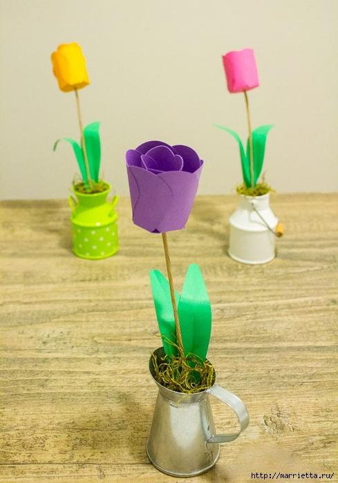Детское творчество к 8 марта. Тюльпаны из бумаги (9) (489x700, 213Kb)