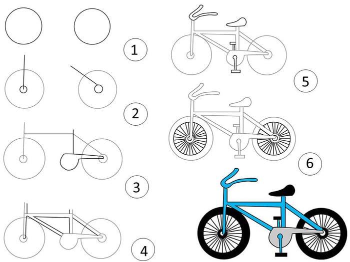 Ребенок на велосипеде как нарисовать поэтапно карандашом