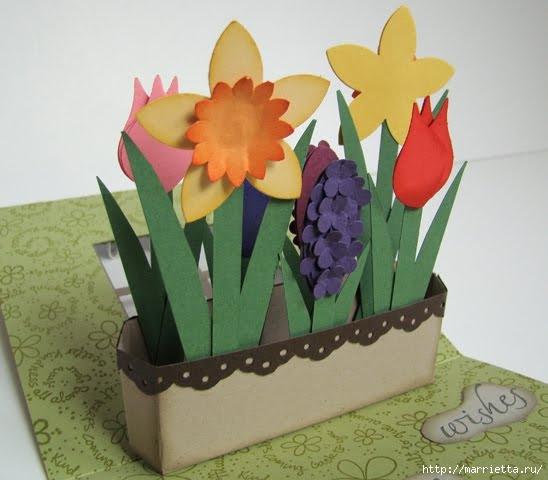 Открытка к 8 марта. Окошко с тюльпанами, нарциссами и гиацинтами (4) (548x480, 114Kb)