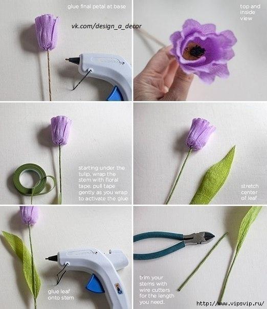 Яркие весенние тюльпаны из креповой бумаги6 (522x604, 144Kb)