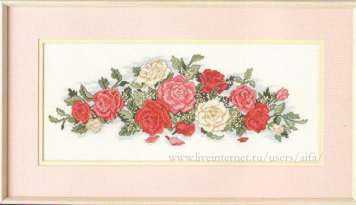 Вышивка панель роза