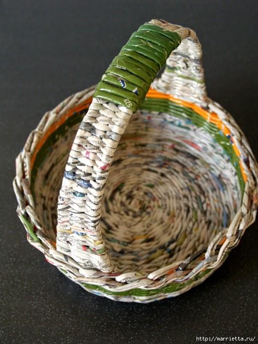 Плетение ручки у корзинок из газетных трубочек тищенко