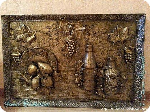 Фрукты, бутылки и виноград. Панно из папье-маше (1) (520x390, 205Kb)
