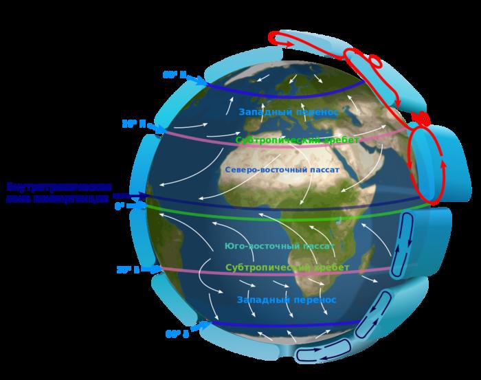 Карта ветров над Атлантикой