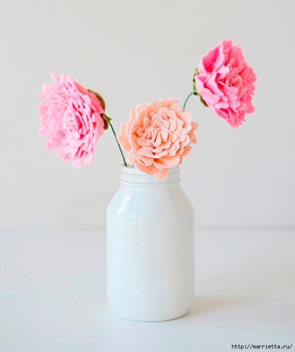 Розовые ПИОНЫ из фетра (9) (585x700, 200Kb)