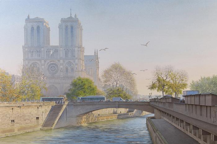 Тьерри Дюваль картины парижа акварель 1 (700x465, 380Kb)