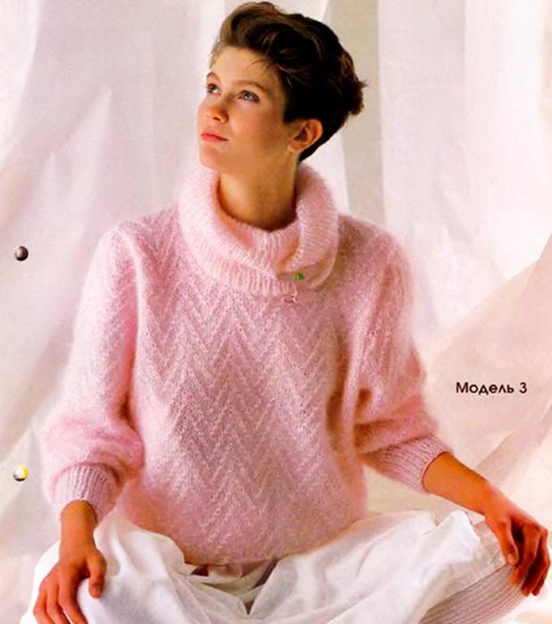 Вязание спицами пуловера из мохера