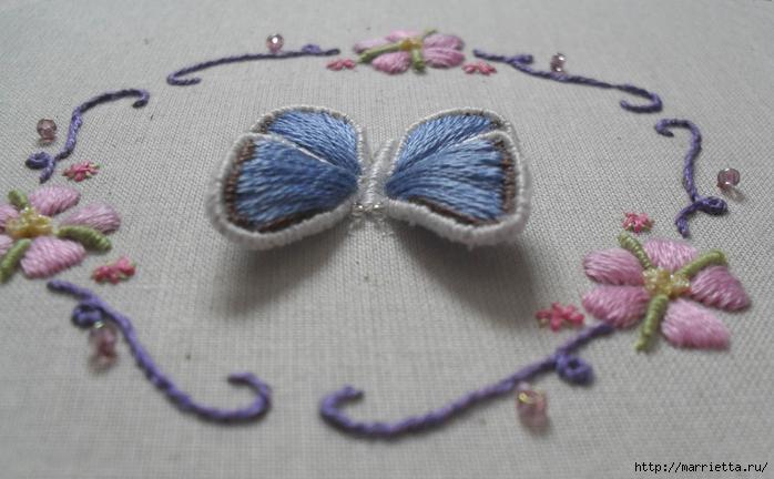 Объемная вышивка. Как вышить крылья бабочки (4) (700x432, 210Kb)