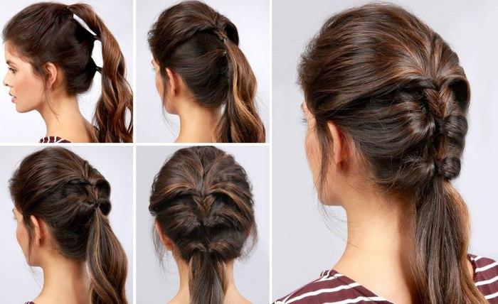 Быстрые причёски на каждый день для средних волос своими руками фото