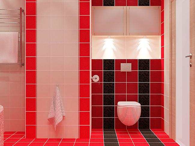 Красно-белая ванная дизайн