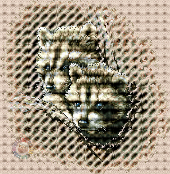 Two Racoon Cub (686x700, 836Kb)
