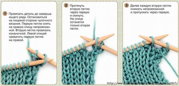 Вязание второго ряда на спицах