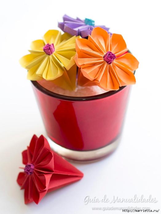 Водяная лилия из бумаги в технике оригами (1) (524x700, 159Kb)