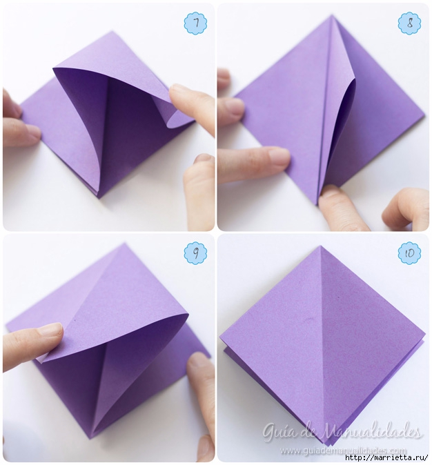 Водяная лилия из бумаги в технике оригами (4) (626x674, 182Kb)