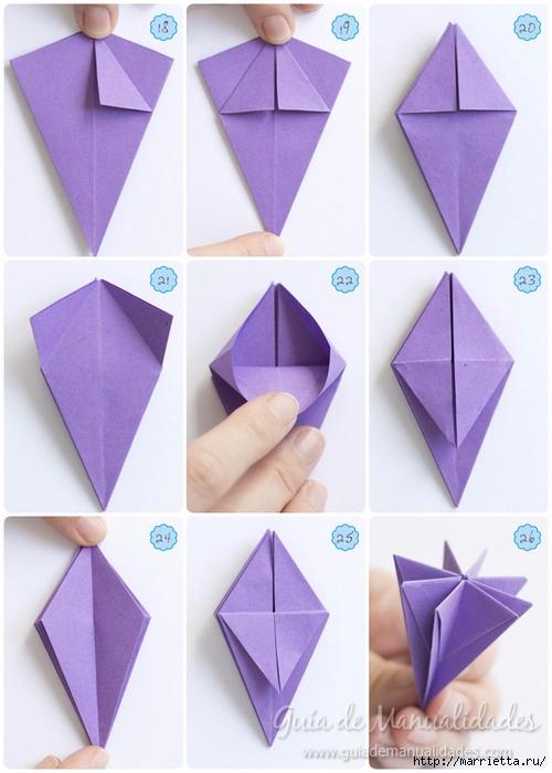 Оригами лилии из бумаги