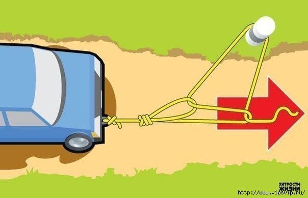 Как вытащить застрявший автомобиль в одиночку6 (604x389, 71Kb)