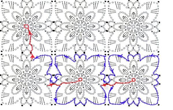 Схема безотрывного вязания королевского мотивов крючком 70
