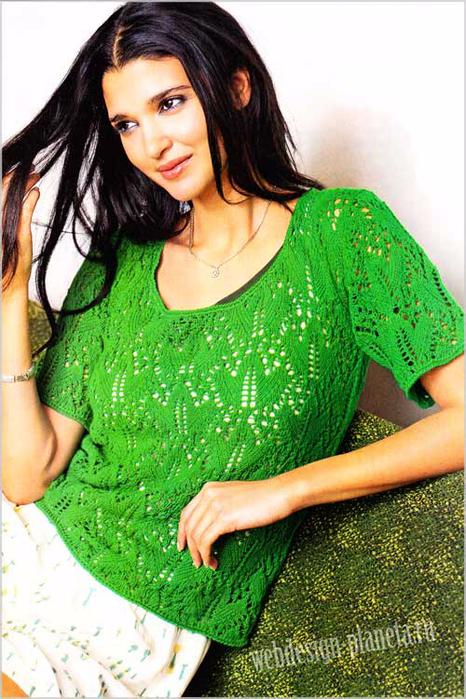 zelenyj-pulover-spitsami-s-korotkimi-rukavami-foto (466x700, 471Kb)