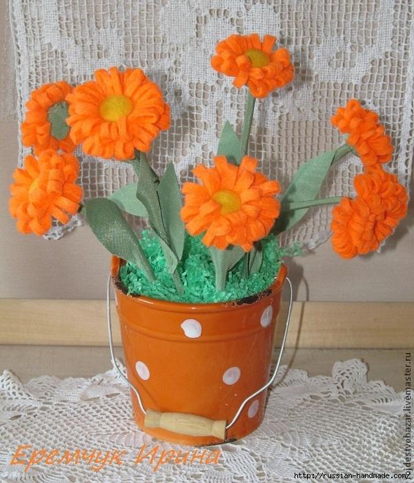 Цветы КАЛЕНДУЛЫ из фетра. Мастер-класс (600x699, 338Kb)