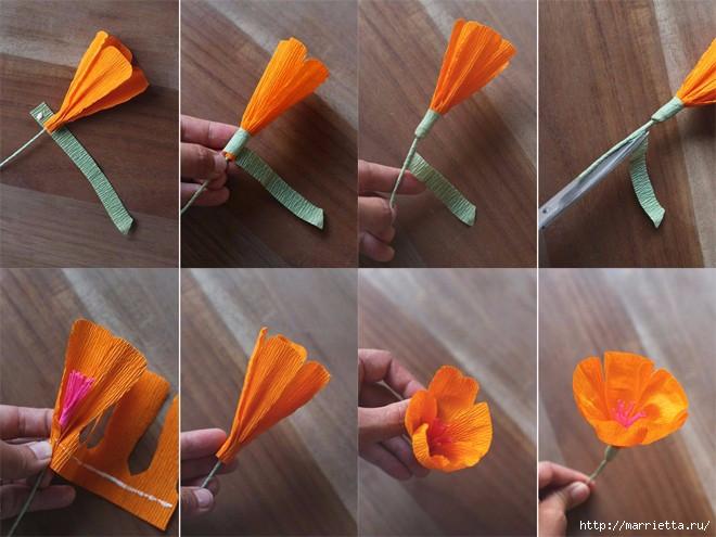 Цветы своими руками из гофрированной бумаги как делать