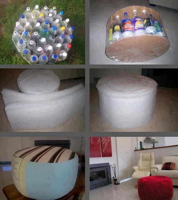 Пуфик из пластиковых бутылок своими руками