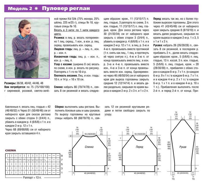 Вязание свитера с регланом спицами 98
