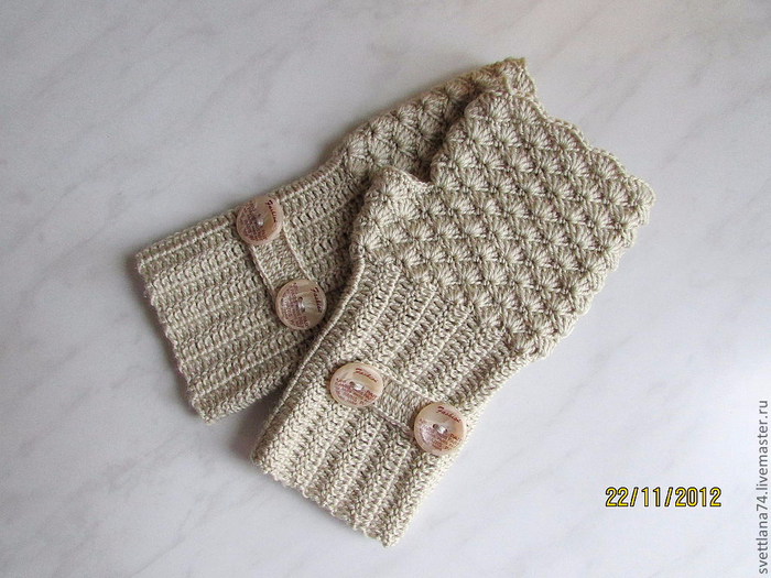 Вязание крючком варежки без пальцев