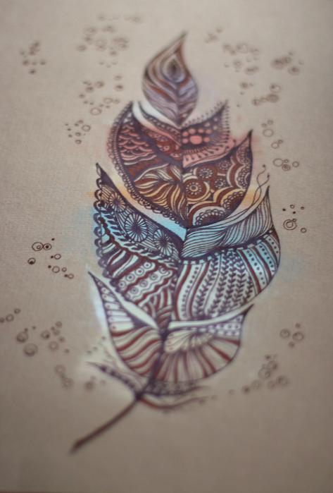 пастель и капиллярная ручка (473x700, 328Kb)