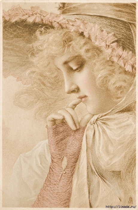 Woman looking down ~ tinted ~ lilac-n-lavender (461x700, 278Kb)