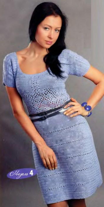 Голубое платье крючком |