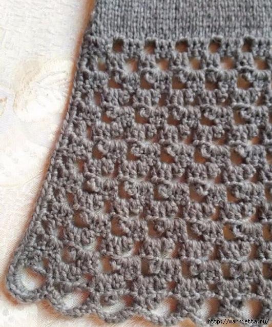 Шарфик спицами с обвязкой крючком. Схема (3) (531x638, 268Kb)