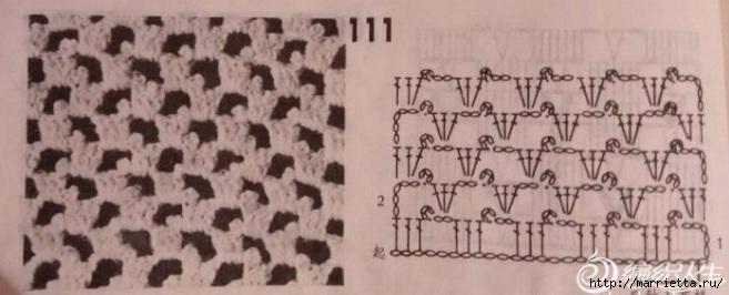 Шарфик спицами с обвязкой крючком. Схема (5) (657x266, 108Kb)