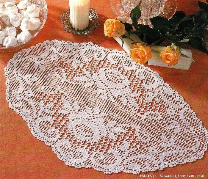 Салфетка в стиле филейного вязания 951