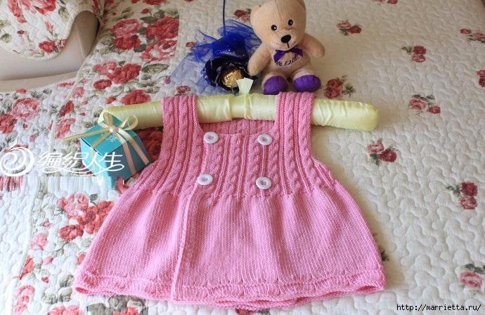 Сарафан для маленькой девочки спицами (4) (690x448, 240Kb)