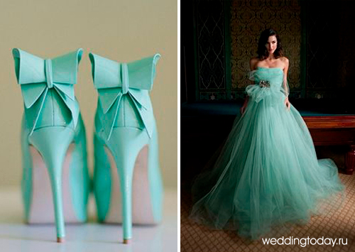 Бирюзовое платье невесты