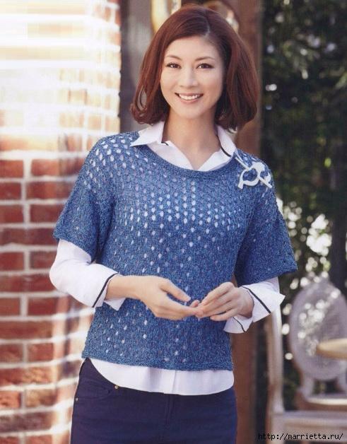 Пуловер с коротким рукавом крючком (2) (491x628, 214Kb)