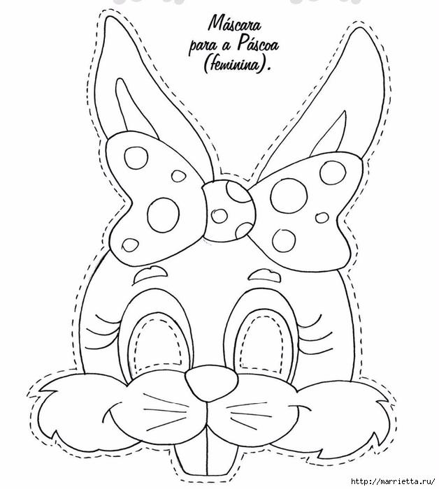 Маски кроликов для детского праздника (5) (628x700, 167Kb)