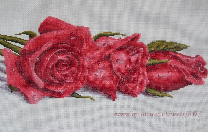 Вышивка панно с розами