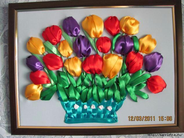 Вышивка тюльпанов атласными лентами (1) (635x476, 163Kb)
