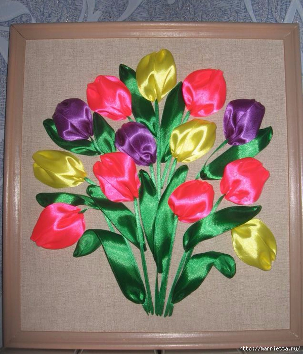 Вышивка тюльпанов атласными лентами (3) (599x700, 338Kb)