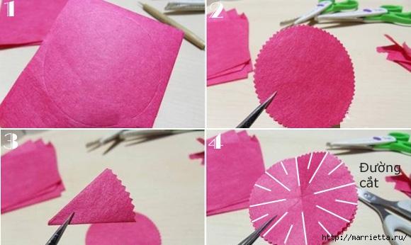 Букет гвоздик из бумаги